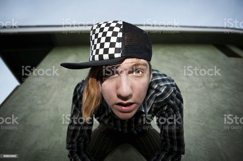 Boy leaning forward royalty-free stock photo