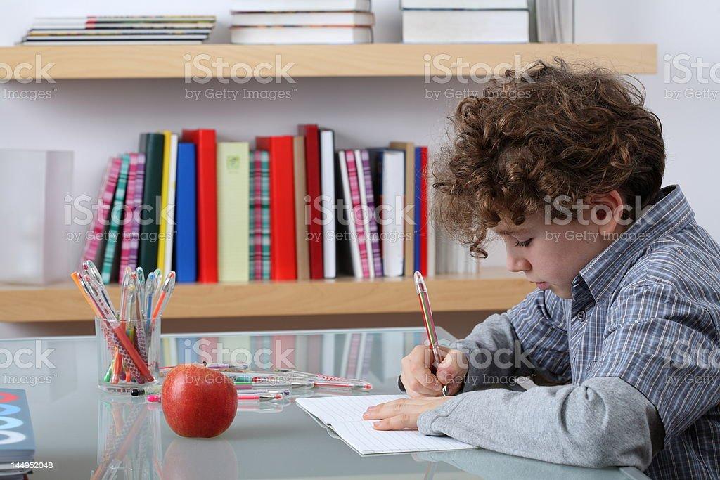 Boy learning royalty-free stock photo