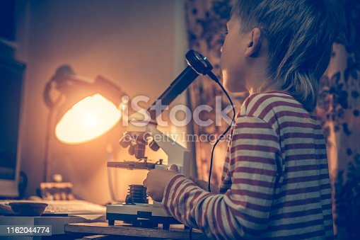 istock Boy looking at a microscope 1162044774