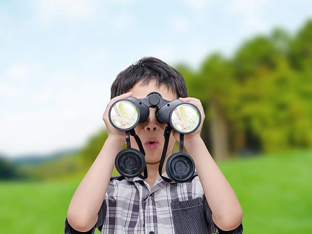 boy looking birds by binoculars stock photo