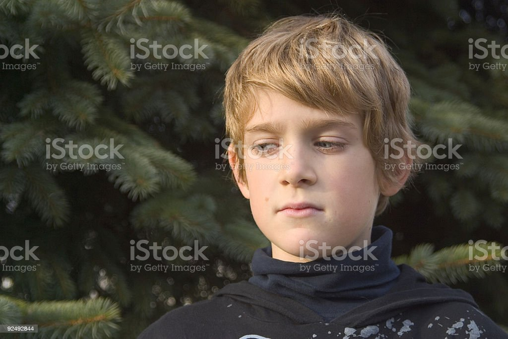 Boy Looking Down royalty-free stock photo