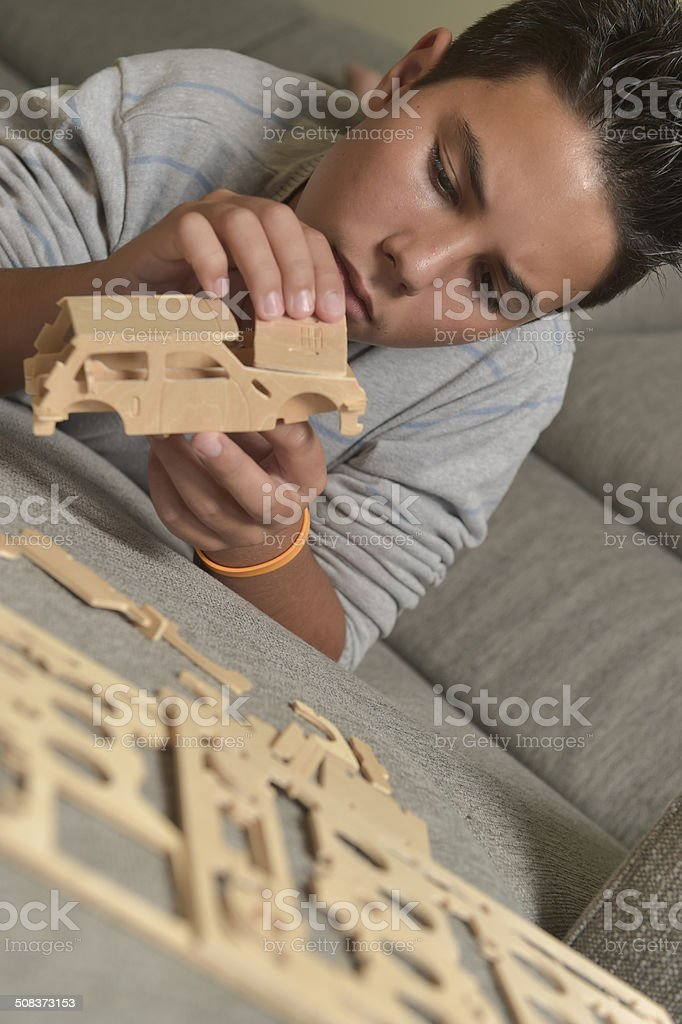 Boy Made A Toy Car stock photo