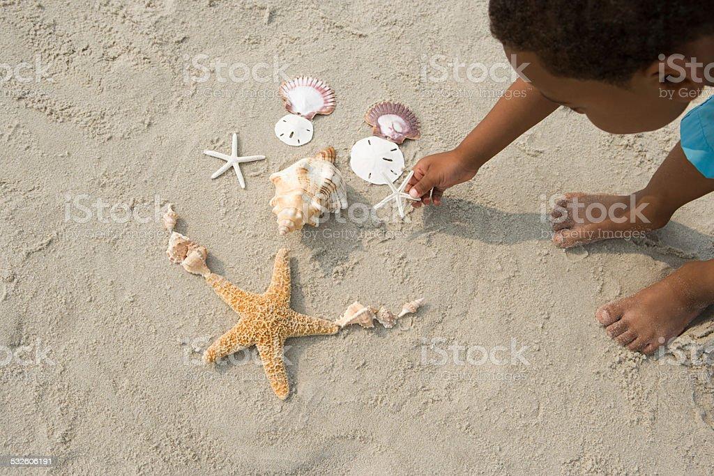 Boy making pattern with shells stok fotoğrafı