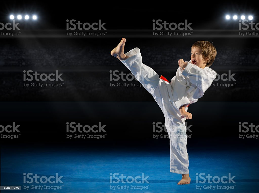 Boy martial arts fighter in sports hall stock photo