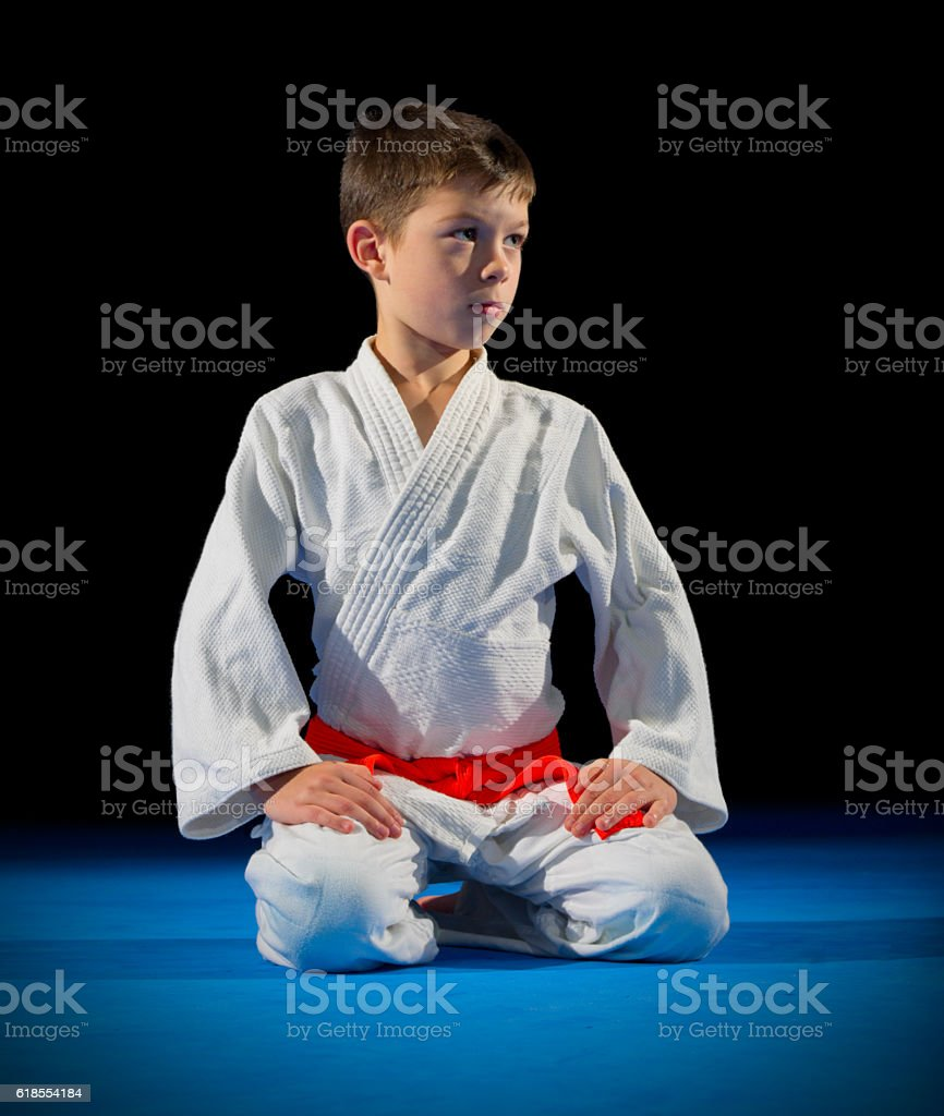 Boy martial arts fighter stock photo