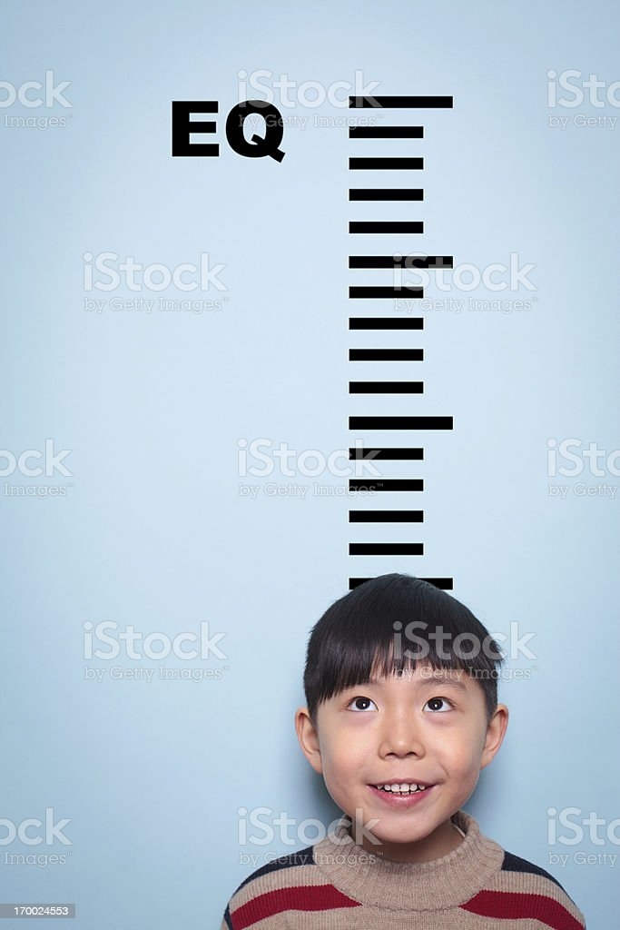 Boy measuring emotional intelligence stok fotoğrafı