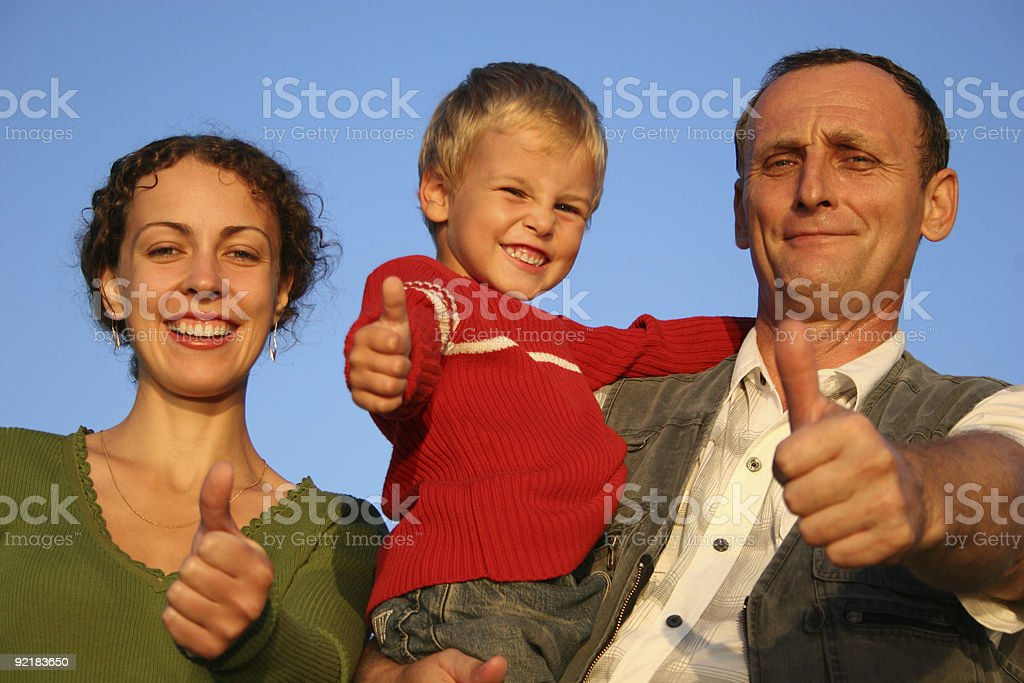 boy, mother and grandfather giving ok royalty-free stock photo