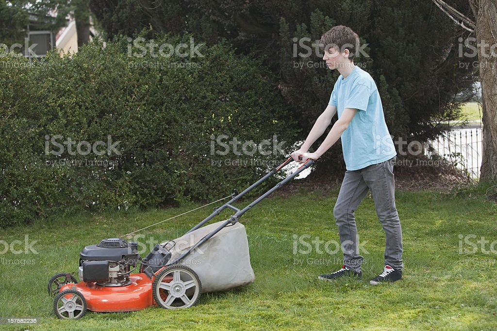 Boy Mows the Front Lawn  - 1 stock photo
