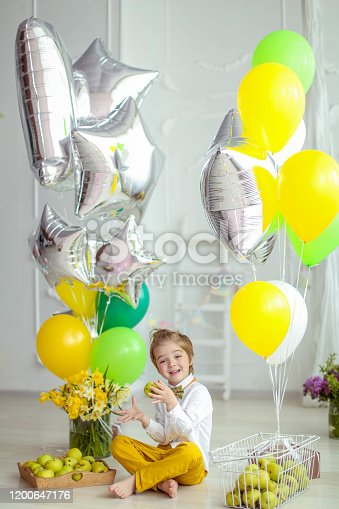 609058672 istock photo Boy of 6 years plays with animals and balloons in a light room 1200647176