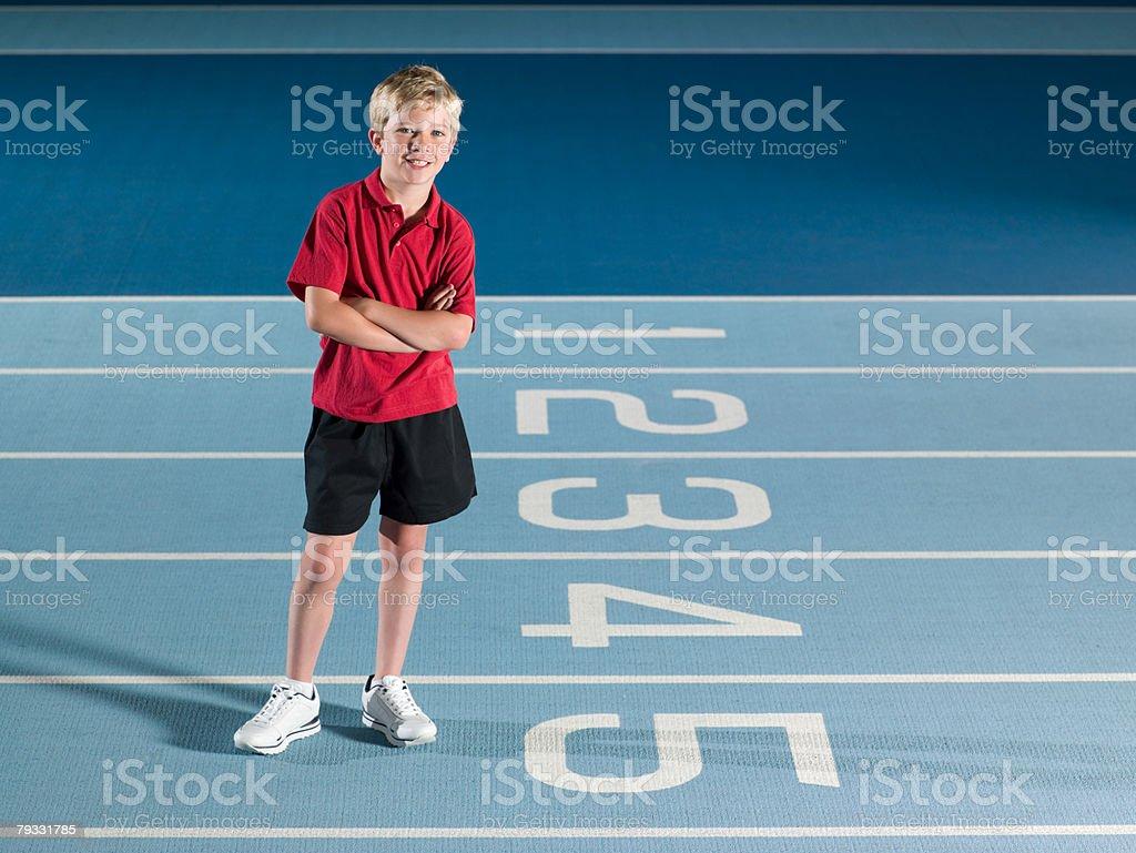 Boy on a race track royalty-free 스톡 사진