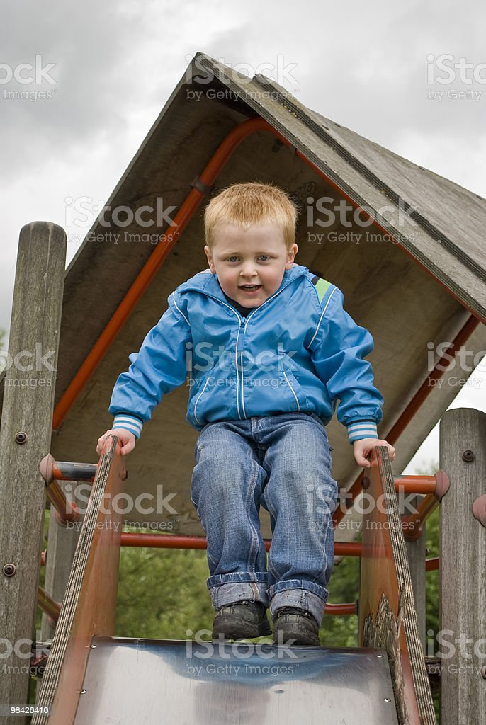 Boy on a Slide royalty-free stock photo