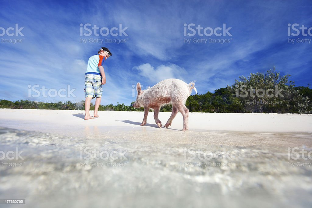 Boy on Exuma vacation stock photo