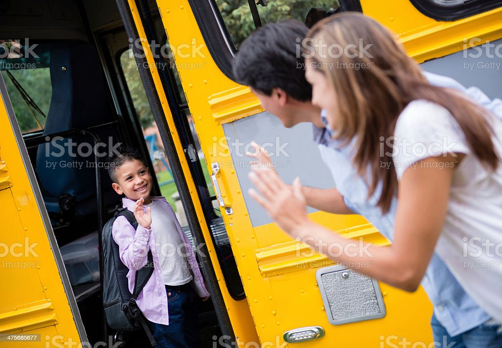 Boy on his first day of school stock photo