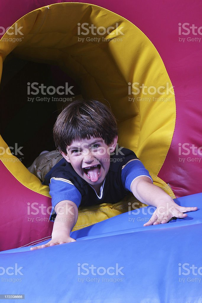 Boy on inflatable jumper royalty-free stock photo