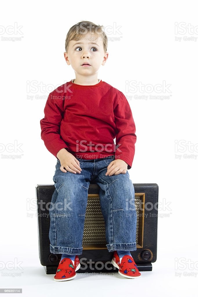 Boy on radio royalty-free stock photo
