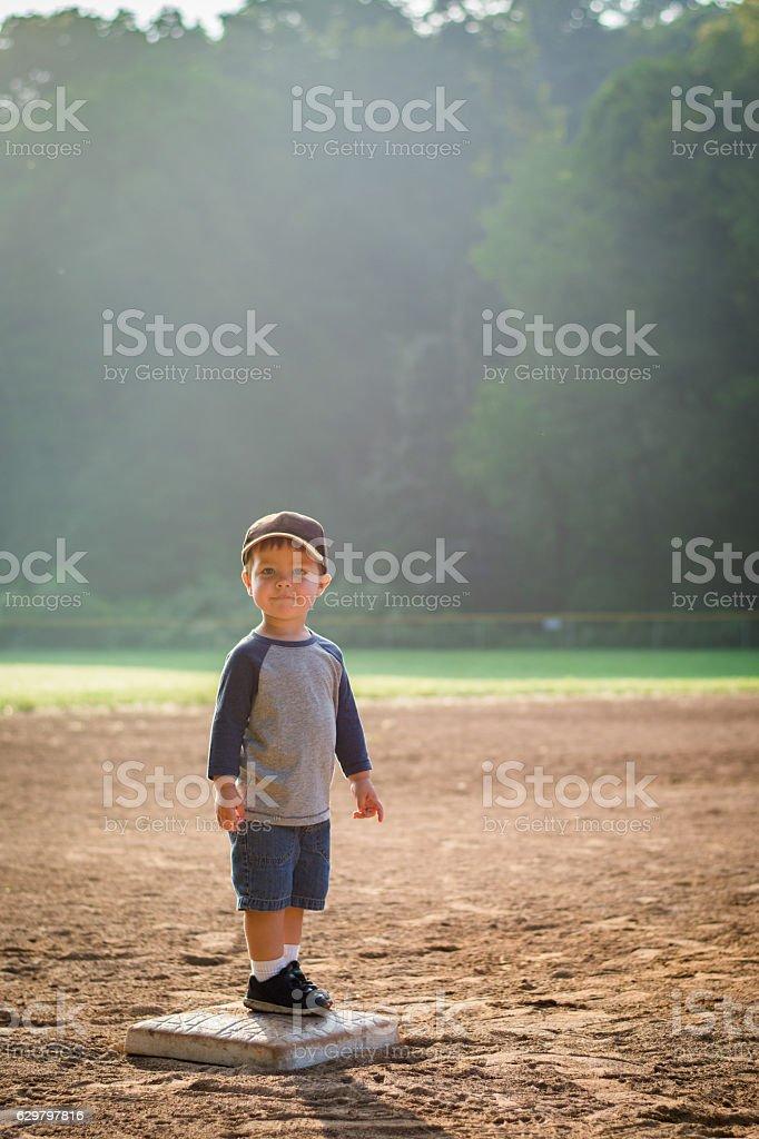 Boy on Second Base stock photo