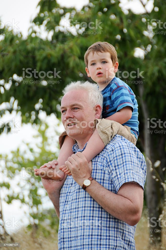 Boy on Shoulders royalty-free stock photo