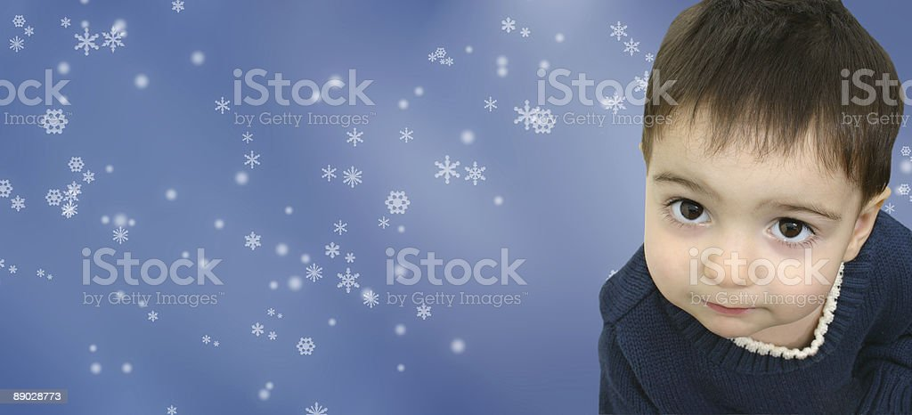 Boy on Snowflakes royalty-free stock photo