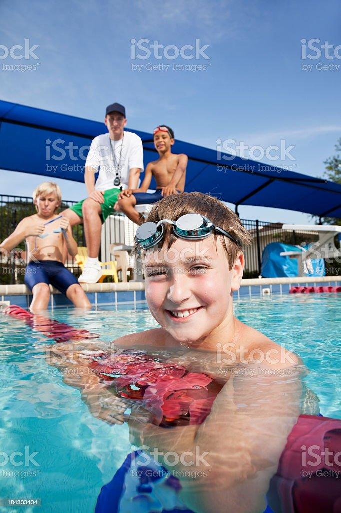 Boy on swim team stock photo