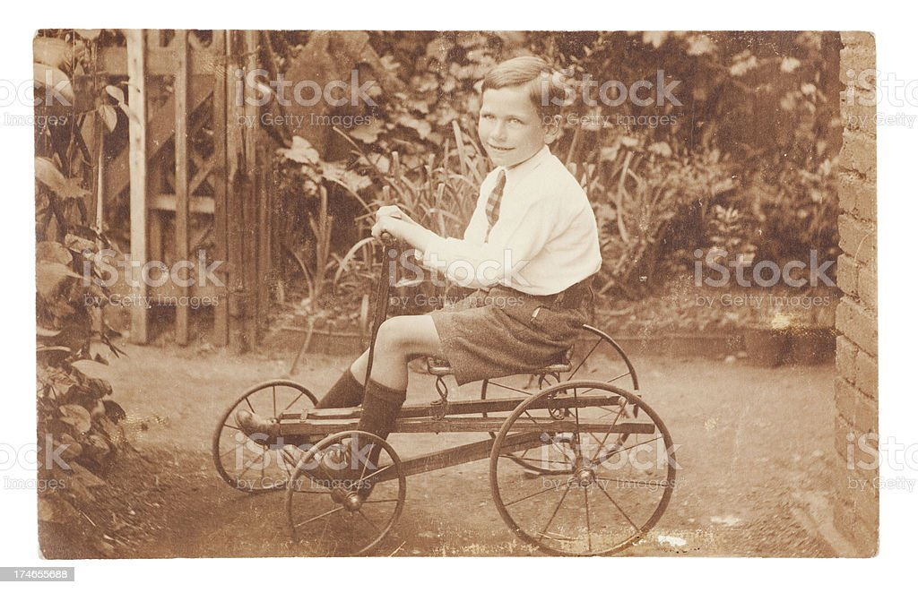 Boy on Vintage Go-Kart royalty-free stock photo