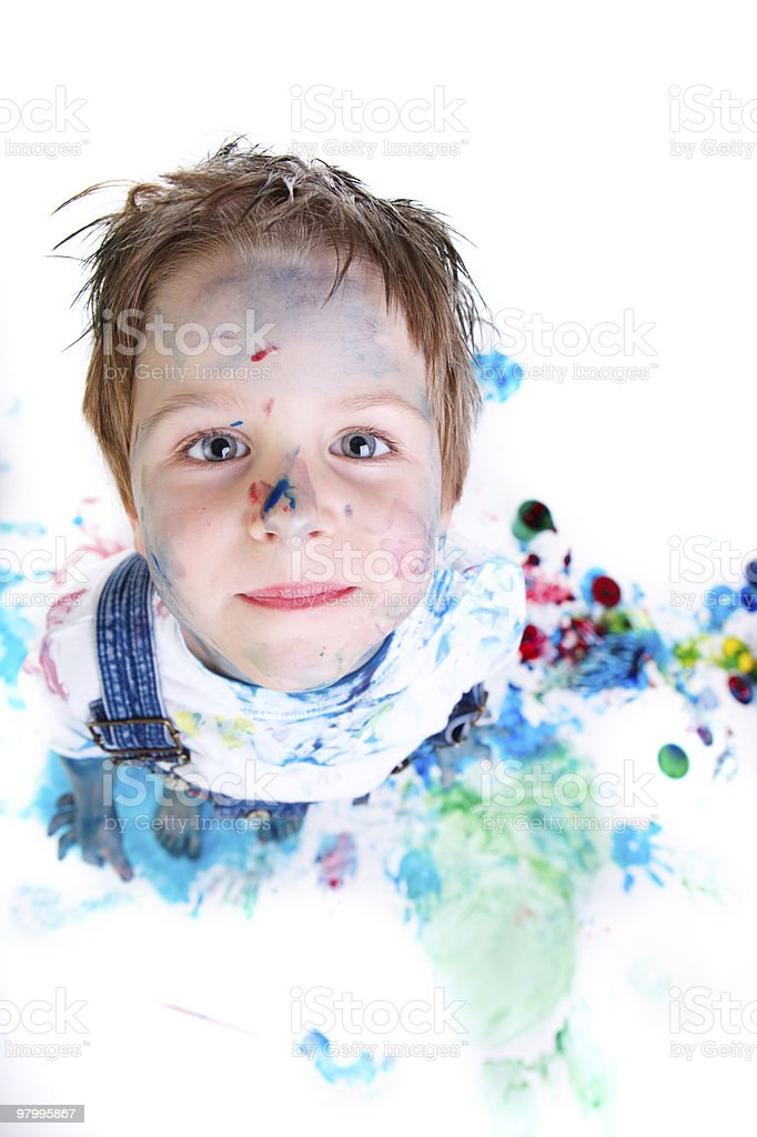Boy painting royalty free stockfoto