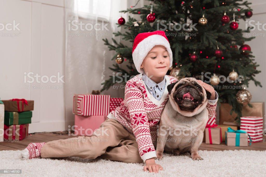 boy petting his dog on christmas stock photo