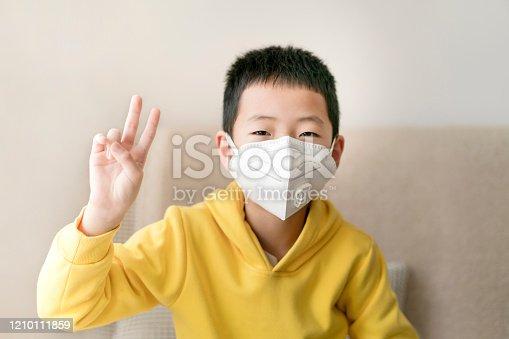A boy wearing mask