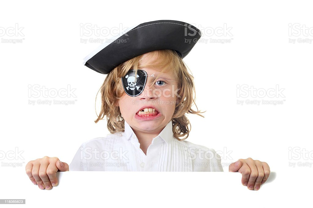 boy pirate with sign stock photo
