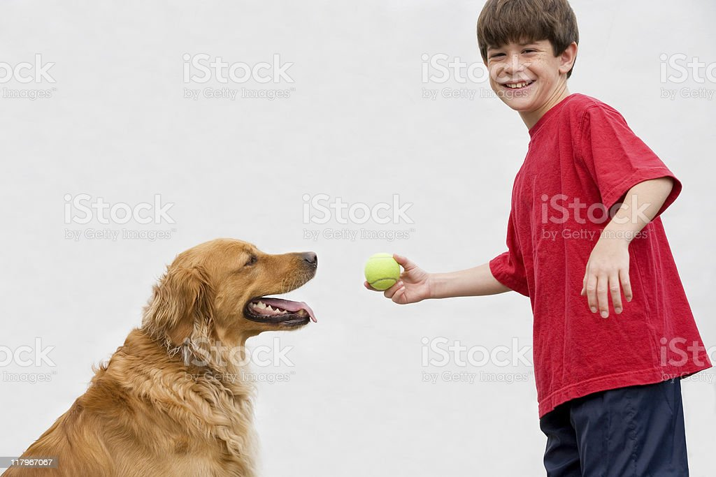 Boy Playing Catch with Dog royalty-free stock photo