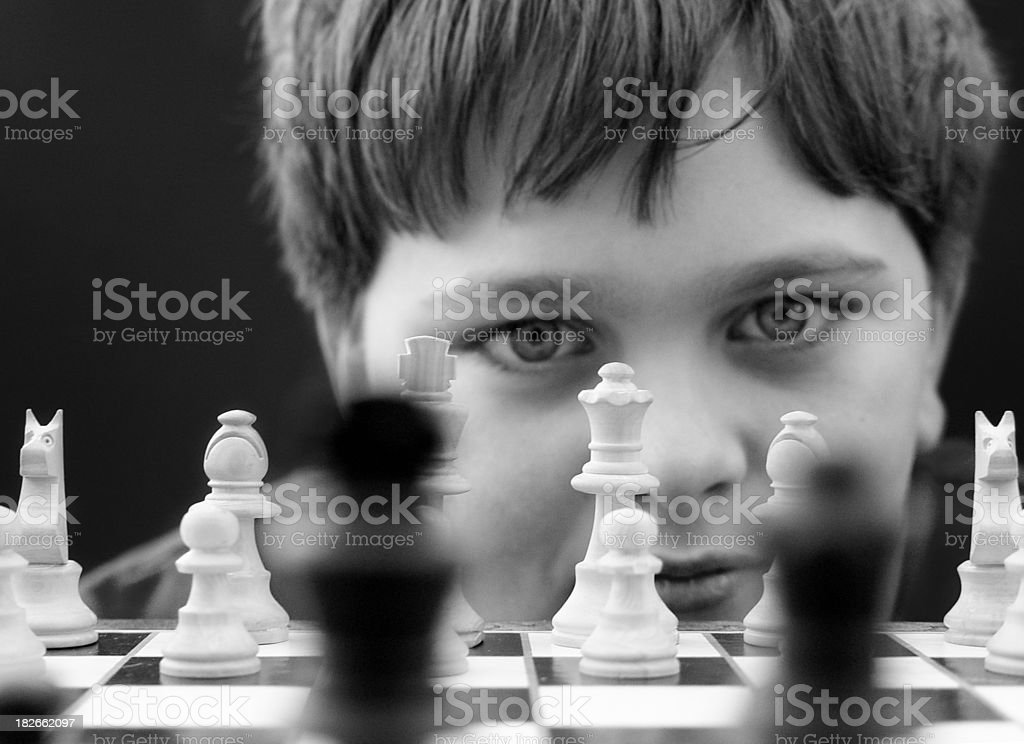 Boy Playing Chess royalty-free stock photo