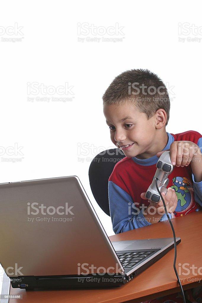 남자아이 컴퓨터 게임을 royalty-free 스톡 사진