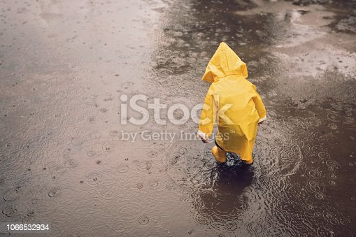 istock Boy playing outdoors at rainy autumn day 1066532934
