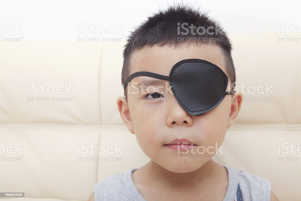 Boy playing pirate stock photo