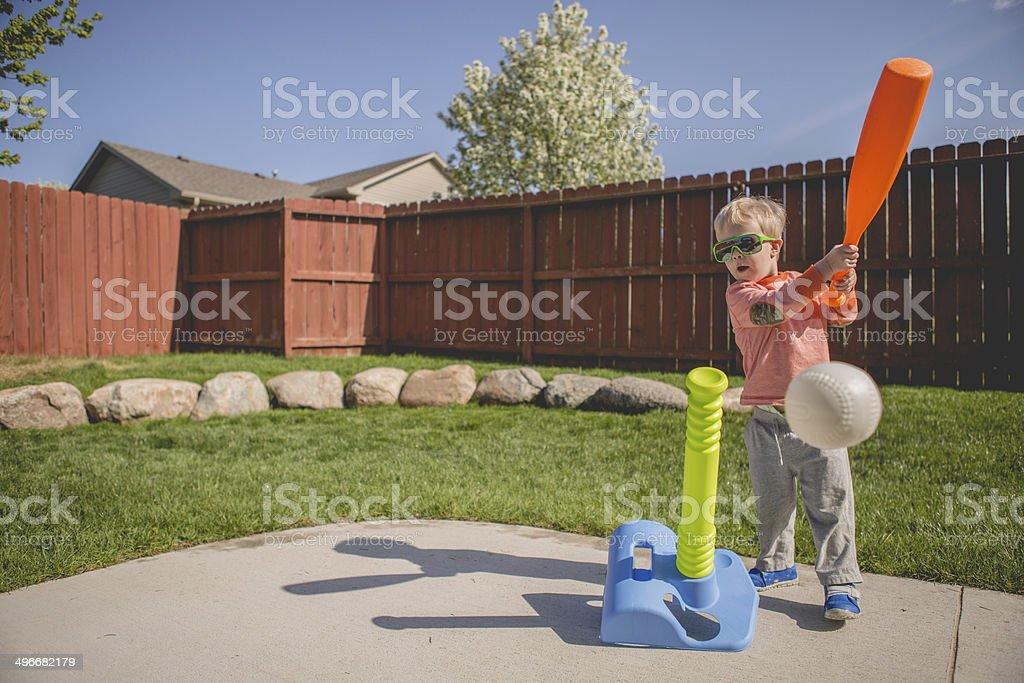 Boy Playing T-Ball stock photo