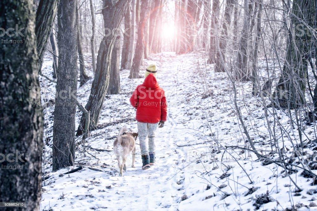 boy playing with dog on snow in winter – zdjęcie