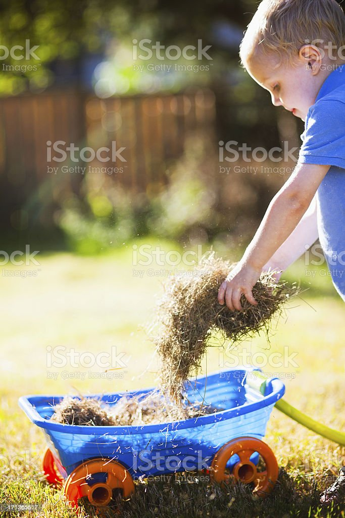 Boy Playing with Toy Wagon royalty-free stock photo