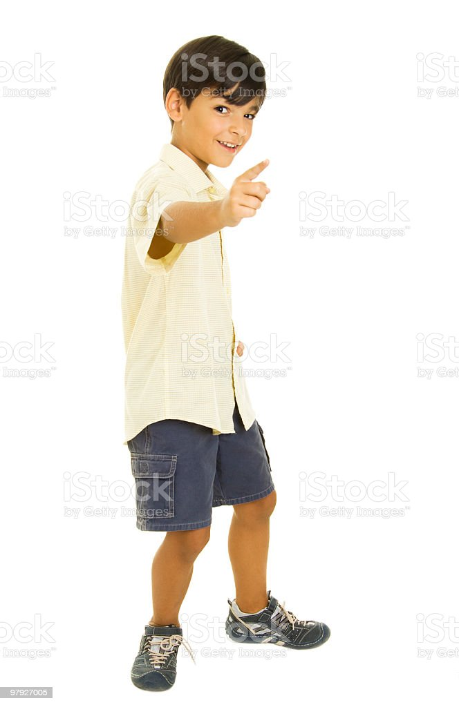 Boy pointing royalty-free stock photo