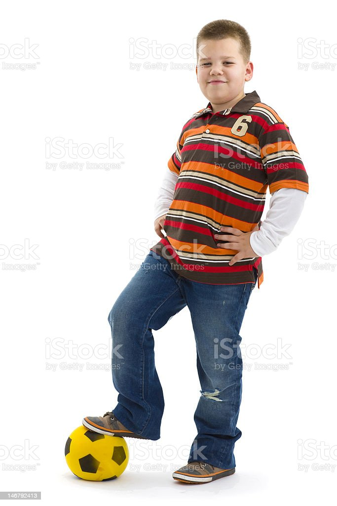 Boy posing with football royalty-free stock photo