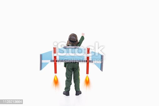 620402800istockphoto Boy pretend to be astronaut 1125213664