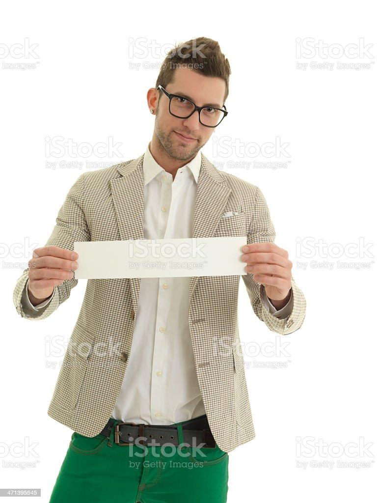 Boy publicizing stock photo