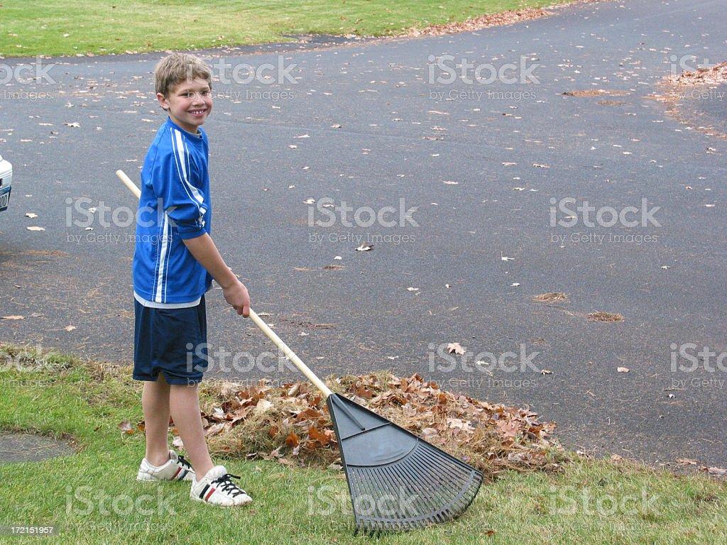 Boy raking royalty-free stock photo