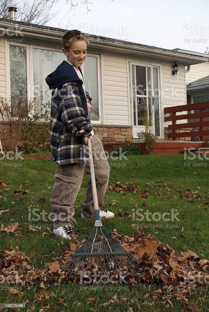 boy raking the yard stock photo