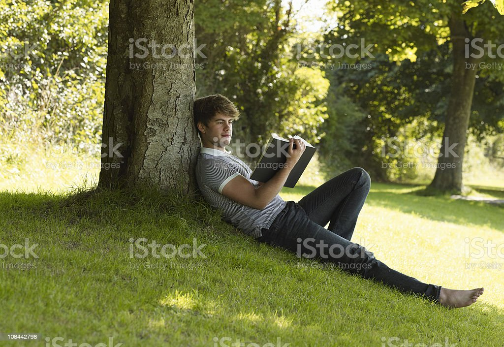 Boy reading a book in the park stock photo