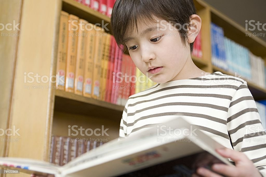 Boy reading a book royalty-free stock photo