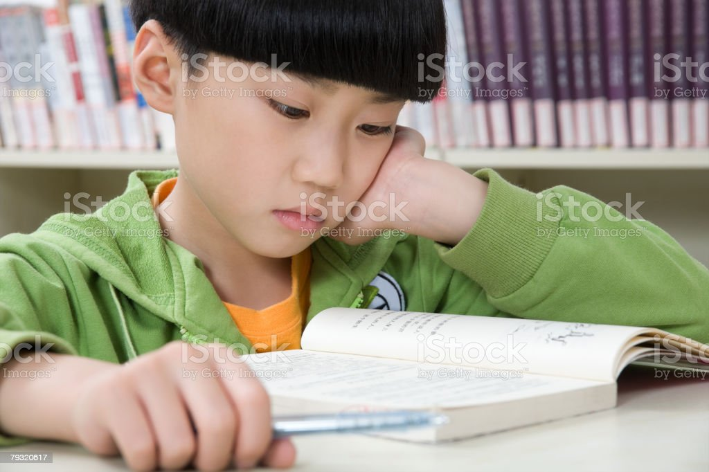 A boy reading a book 免版稅 stock photo