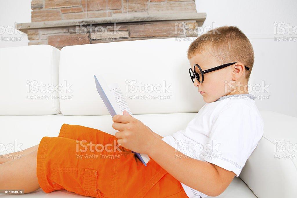 Boy reading book. royalty-free stock photo