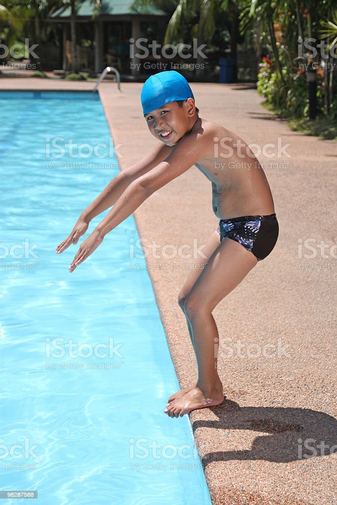 boy ready to dive royalty-free stock photo