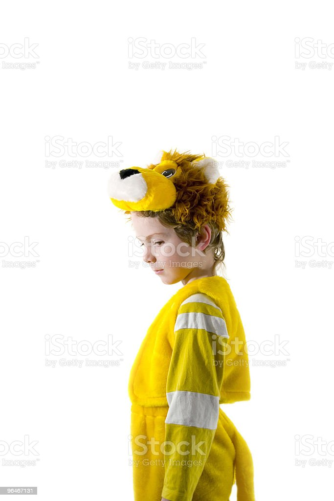 Boy representing a lion royalty-free stock photo