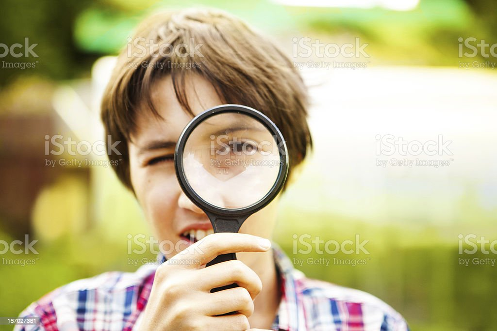 Boy researcher royalty-free stock photo