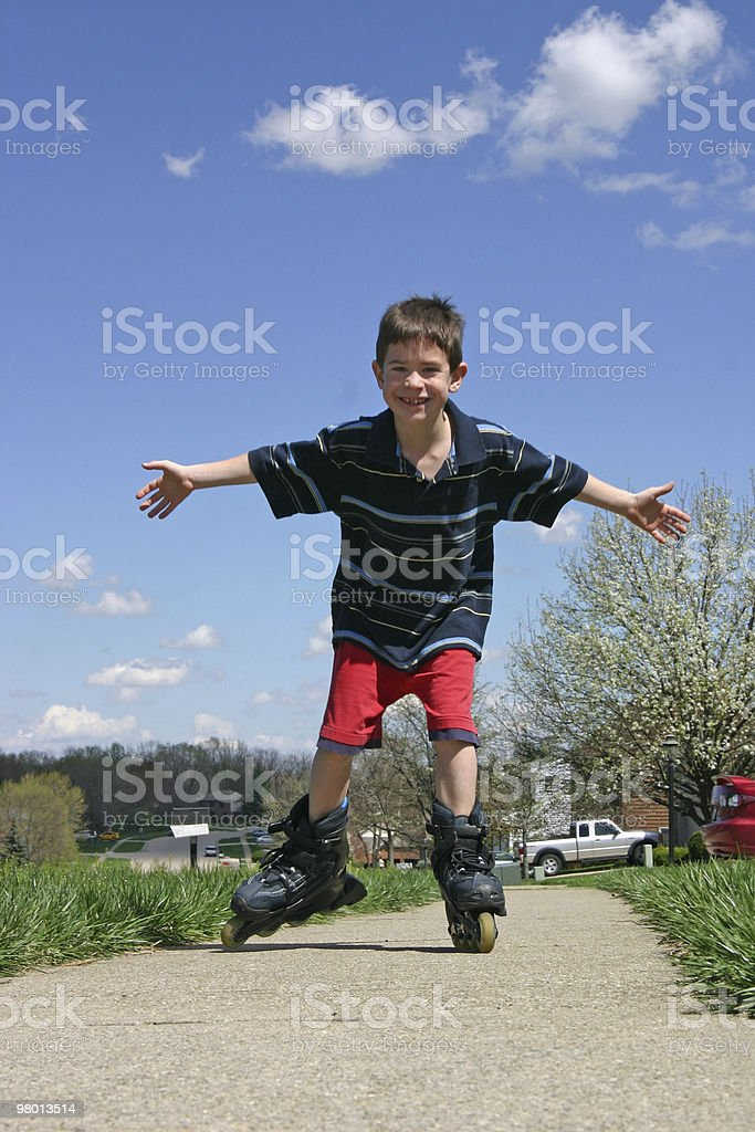 Boy Roller-Blading royalty-free stock photo